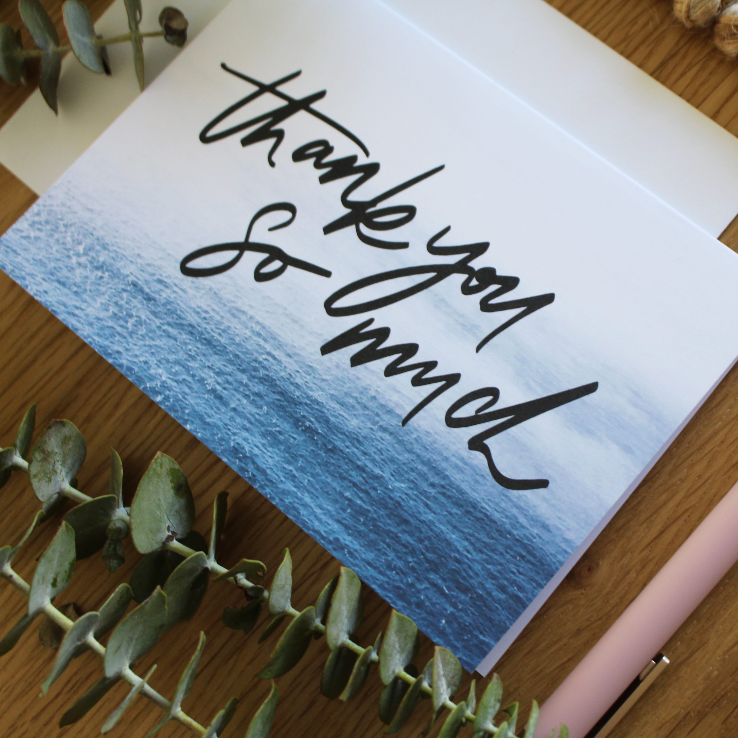 'waves thank you so much' greeting card  trudy letters