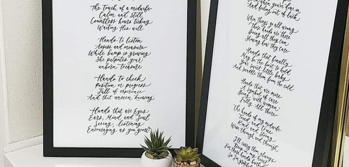 Custom Lettering Black and White - Two Frames